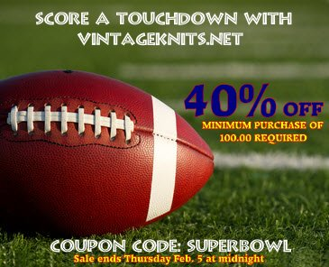 superbowl sale at vintageknits.net